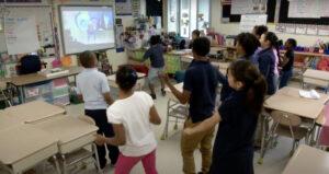 Kids dancing in the classroom