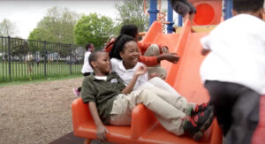 Kids on the slide at recess